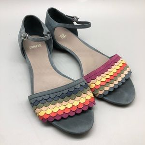 Camper TWS twins multicolor ankle strap flats